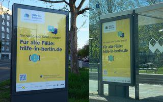Ansichten der Plakatierung des City Light Posters des Hilfeportals hilfe-in-berlin.de in Berlin