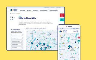 Kartenansichten auf hilfe-in-berlin.de in Desktop- und Mobilformat
