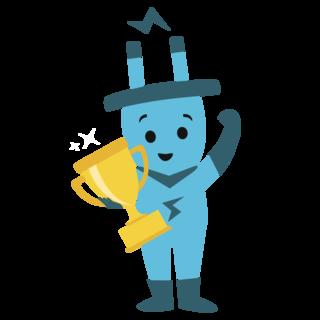 Maskottchen Stecky mit einem goldenen Pokal