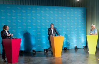Staatssekretär Christian Rickerts, Siemens AG Industrievorstand Cedrik Neike und Moderatorin Christiane Stein, © IBB / Dirk Enters