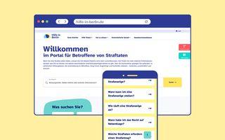 Ansichten der Startseite von hilfe-in-berlin.de in Desktop- und Mobilformat