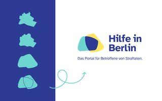 Veranschaulichung der Herleitung des Logos des Hilfeportals hilfe-in-berlin.de