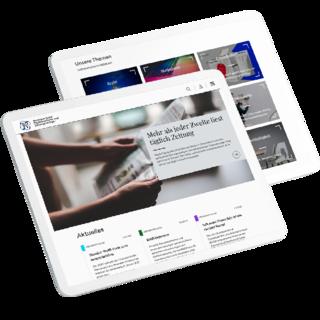 Tablet-Mockups der neuen Website des BDZV